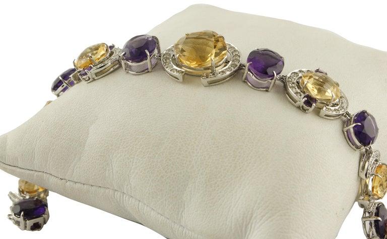 Women's White Diamonds Yellow Topazes Amethysts White Gold Link Bracelet For Sale