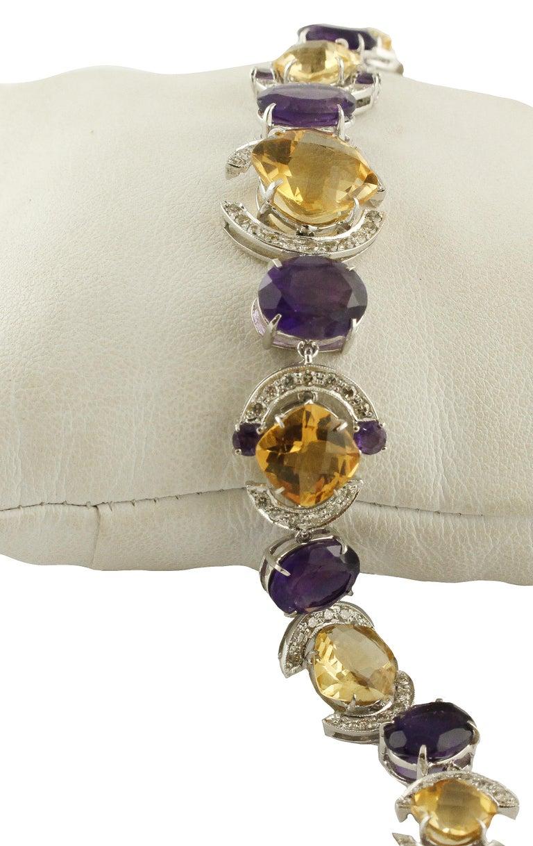 White Diamonds Yellow Topazes Amethysts White Gold Link Bracelet For Sale 1