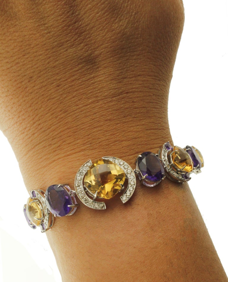 White Diamonds Yellow Topazes Amethysts White Gold Link Bracelet For Sale 2