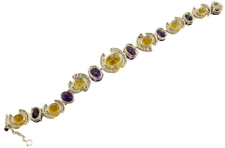 Retro White Diamonds Yellow Topazes Amethysts White Gold Link Bracelet For Sale