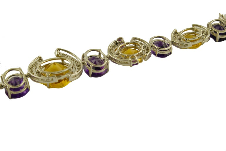 White Diamonds Yellow Topazes Amethysts White Gold Link Bracelet In Good Condition For Sale In Napoli, IT