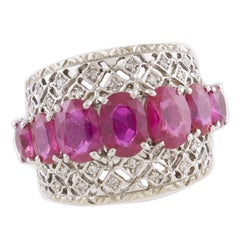 White Diamonds Rubies White Gold Band Ring