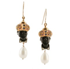 Diamonds Blue Sapphires Rubies Coral Bottons and Drops Ebony Moretto Earrings