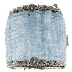 Aquamarine Diamonds Pearls Rubies Rose Gold and Silver Bracelet