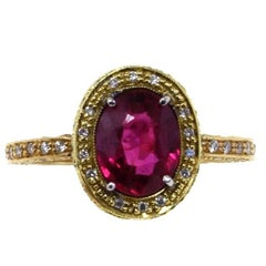 2.40 Carat Ruby, Diamonds, White Yellow and Rose Gold Solitaire Ring