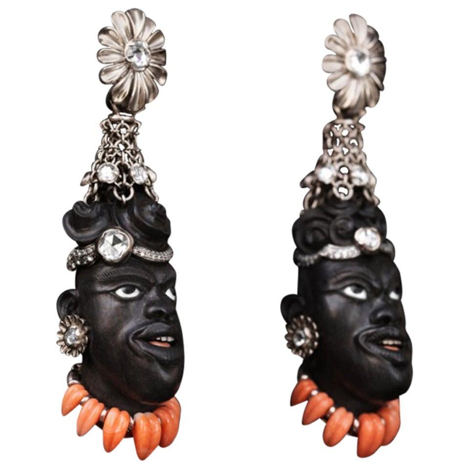 2005 Otto Jakob Jaja Diamond Ebony Blackamoor Earrings 1