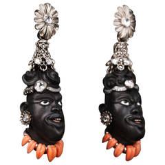 2005 Otto Jakob Jaja Diamond Ebony Blackamoor Earrings