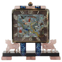 Important Art Deco Chinoiserie Desk Clock by  Lacloche Freres