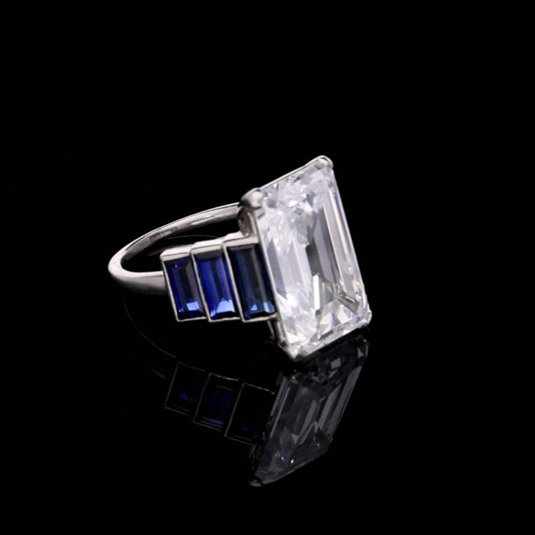 Art Deco Emerald-Cut 'Golconda' Diamond Ring with Graduated Sapphire Shoulders 2
