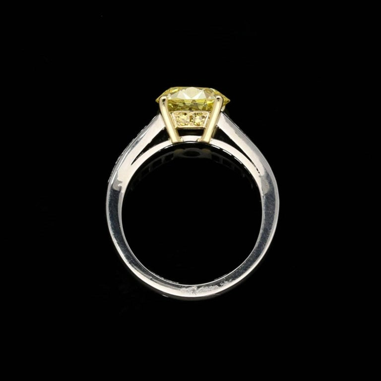 French Cut 2.41 Carat Fancy Intense Yellow Diamond Ring with Tapering French-Cut Diamond For Sale
