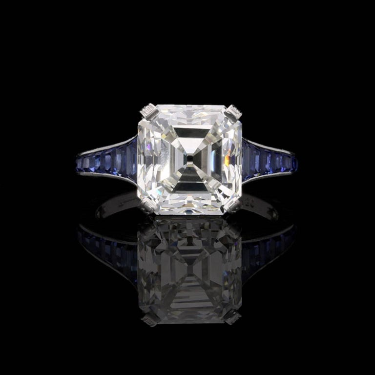gemstone view stock close photo asscher cut sapphire rendering