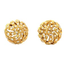 Pierre Sterle 18 Carat Yellow Gold and Diamond Domed Spiral Clip Earrings