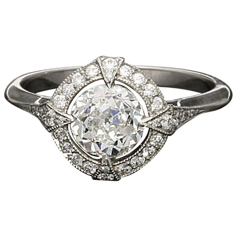 Hancocks GIA Certified 1.15 Carat Old European Cut Diamond Cluster Ring For Sale