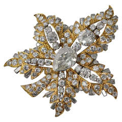 Magnificent Certified Rene Boivin Feuille de Platane Diamond Brooch
