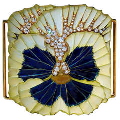 Plique-a-Jour Enamel and Diamond Plaque de Cou by Rene Lalique