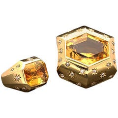 "Suzanne Belperron Citrine Diamond Gold  ""Modele Facette"" Demi-Parure"