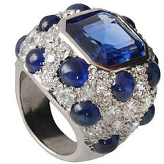 Fantastic Sapphire Diamond Modele a Pois Ring by Suzanne Belperron