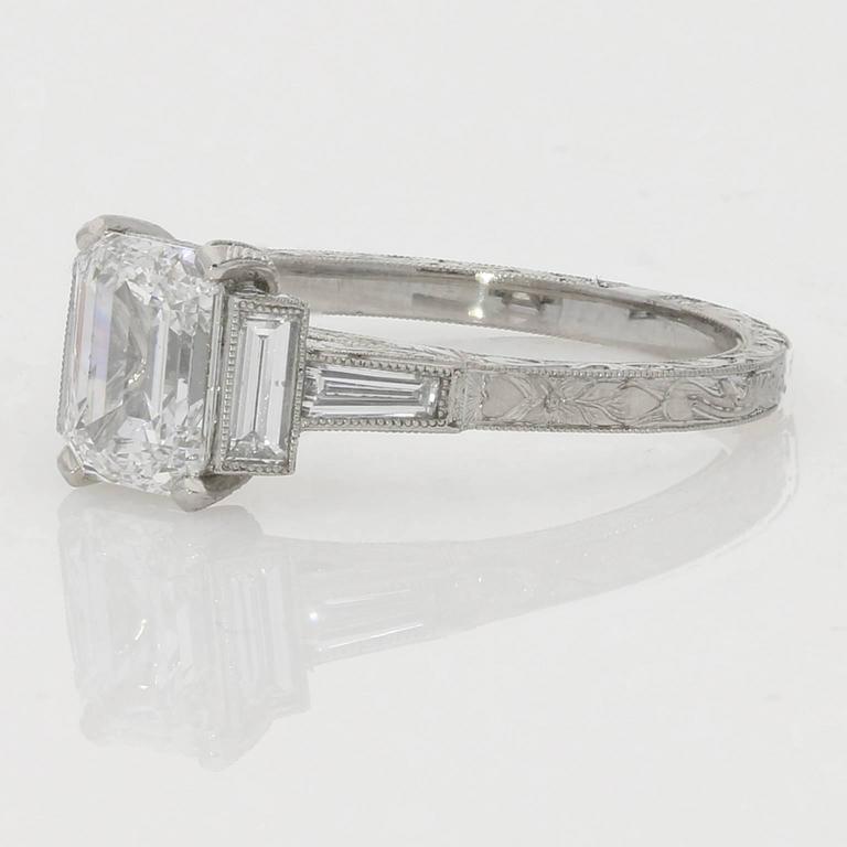 1.21ct D VS2 Emerald Cut Diamond Ring With Diamond Baguette Accents 2