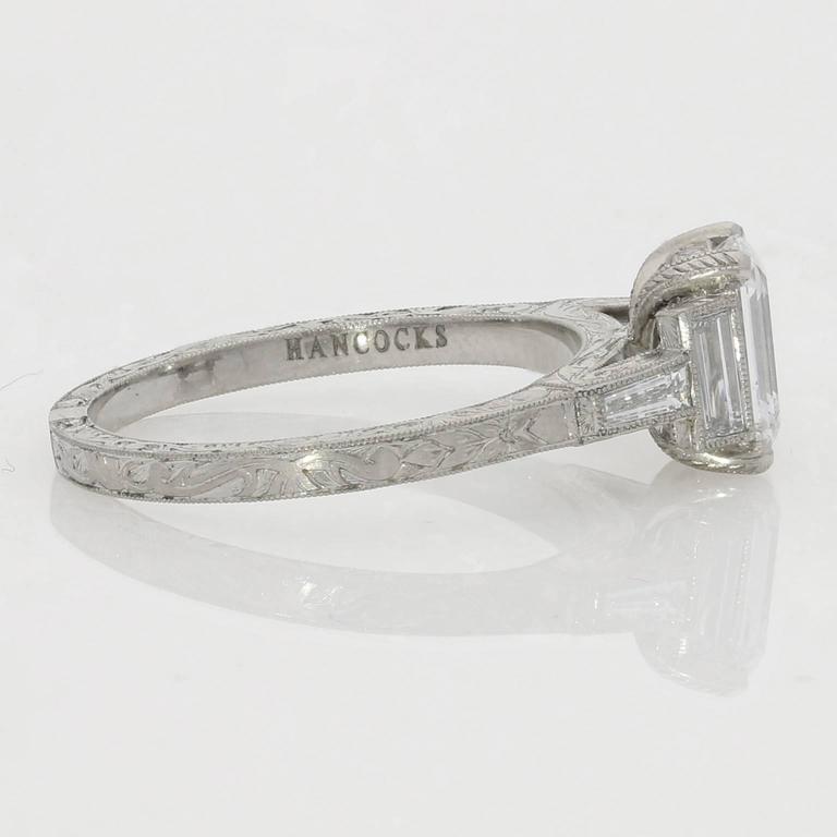 1.21ct D VS2 Emerald Cut Diamond Ring With Diamond Baguette Accents 3