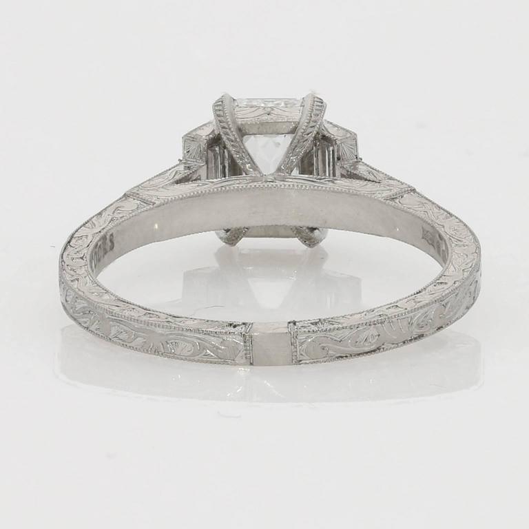 1.21ct D VS2 Emerald Cut Diamond Ring With Diamond Baguette Accents 4
