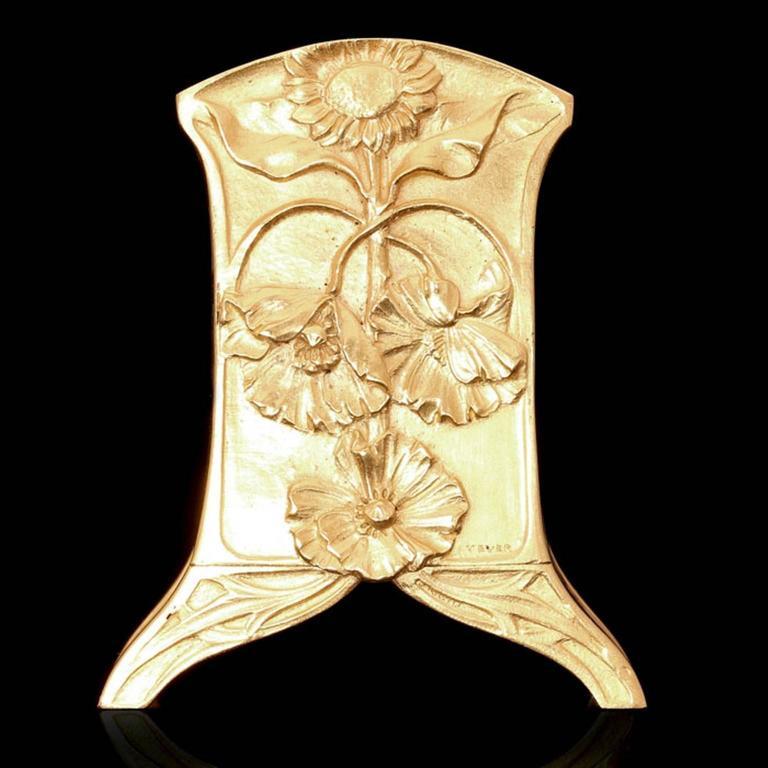 1900 Vever Beautiful Gold Art Nouveau Travel Clock  3