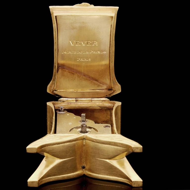 1900 Vever Beautiful Gold Art Nouveau Travel Clock  5