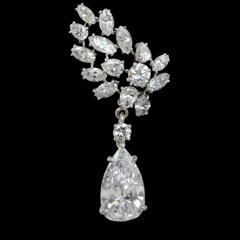Important Cartier Paris Pear Shaped D Color Diamond Drop Earrings  3