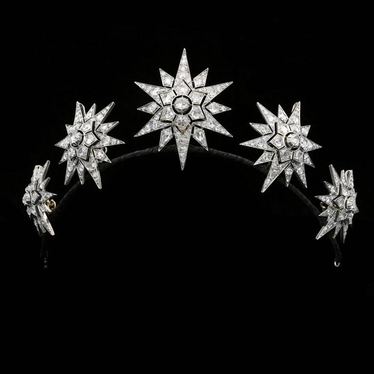 Rare Complete Victorian Diamond Five Star Tiara Converting to Brooches 2