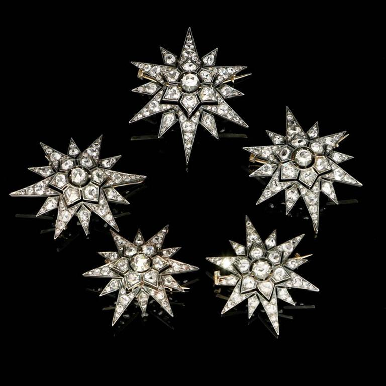 Rare Complete Victorian Diamond Five Star Tiara Converting to Brooches 3