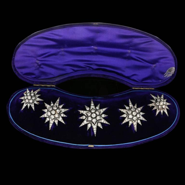 Rare Complete Victorian Diamond Five Star Tiara Converting to Brooches 4
