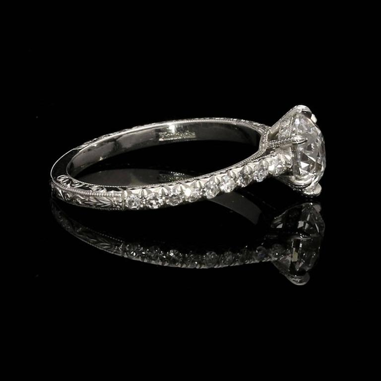 Contemporary Beautiful Old European Brilliant Cut Diamond  Platinum Ring For Sale