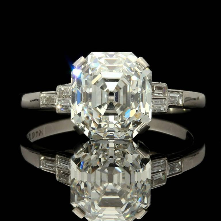 asscher diamond ring p product diamonds tds with ascher platinum band cut in