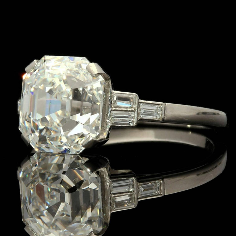 Stunning 4 09 Carat Asscher Cut Diamond Platinum Ring For