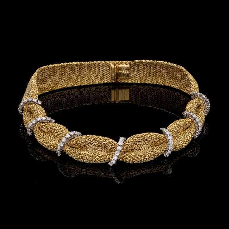 Tiffany & Co. 1950 Woven Gold Fabric Diamond Necklace 2