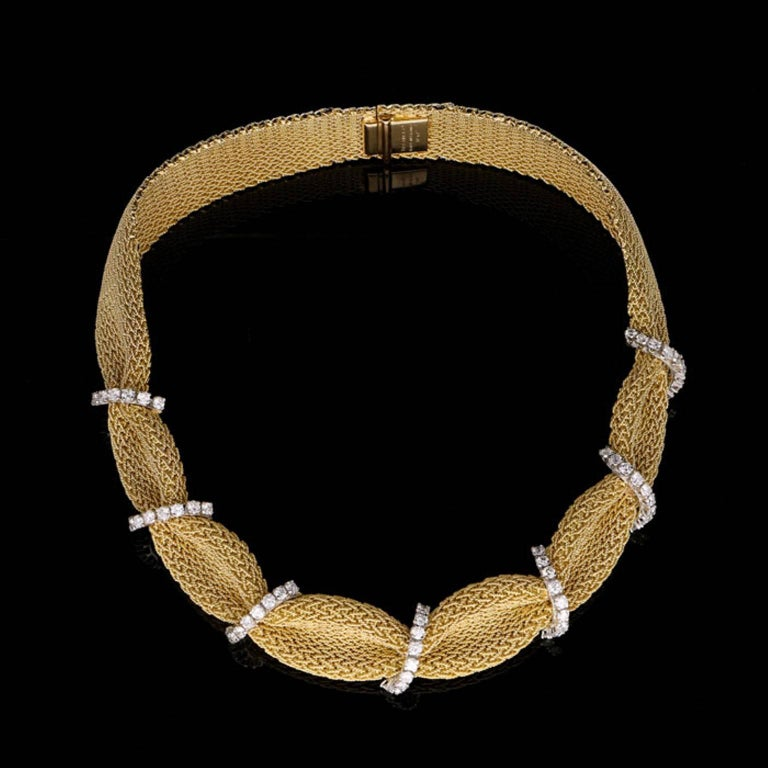 Tiffany & Co. 1950 Woven Gold Fabric Diamond Necklace 3