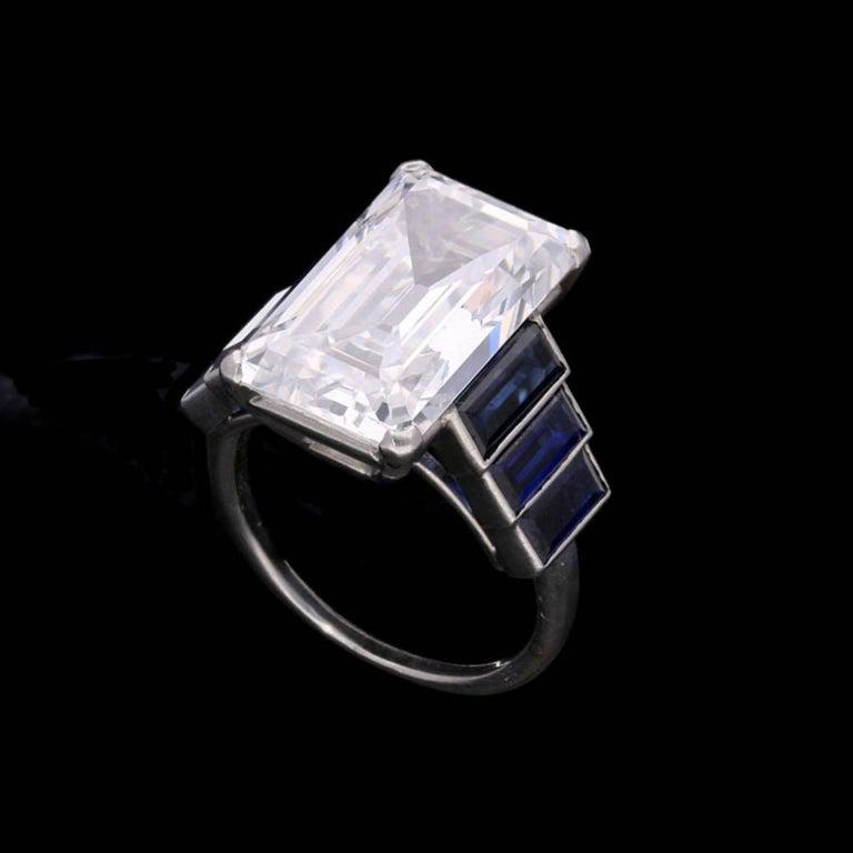 Emerald Cut Art Deco Emerald-Cut 'Golconda' Diamond Ring with Graduated Sapphire Shoulders For Sale