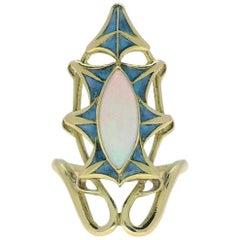 René Lalique Art Nouveau Plique-a-Jour Gold Ring