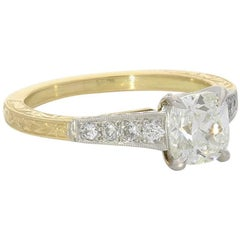Hancocks 1.07 Carat Old Mine Cushion Cut Solitaire Gold and Platinum Ring
