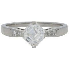 Hancocks 1.21 Carat Asscher Cut Diamond Platinum Solitaire Ring