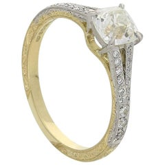 Hancocks 0,95 Karat Alter Minen-Brillant Platin Diamant-Ring mit Split-Schulter