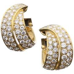 Van Cleef & Arpels Elegant Diamond Gold Hoop Earrings