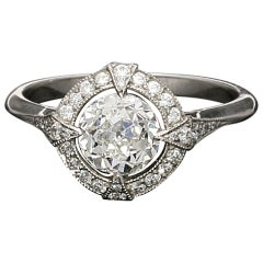 Hancocks GIA Certified 1.15 Carat Old European Cut Diamond Cluster Ring