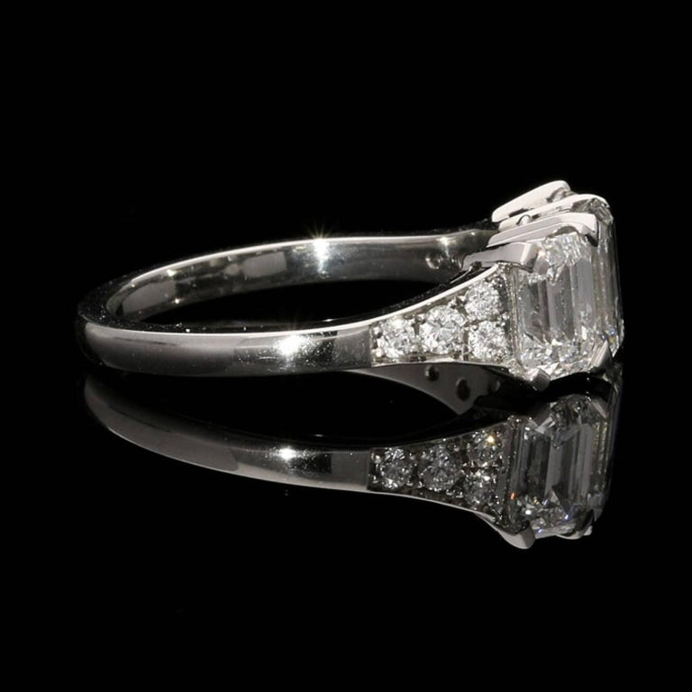Emerald Cut Hancocks Elegant Emerald-Cut Diamond Three-Stone Platinum Ring