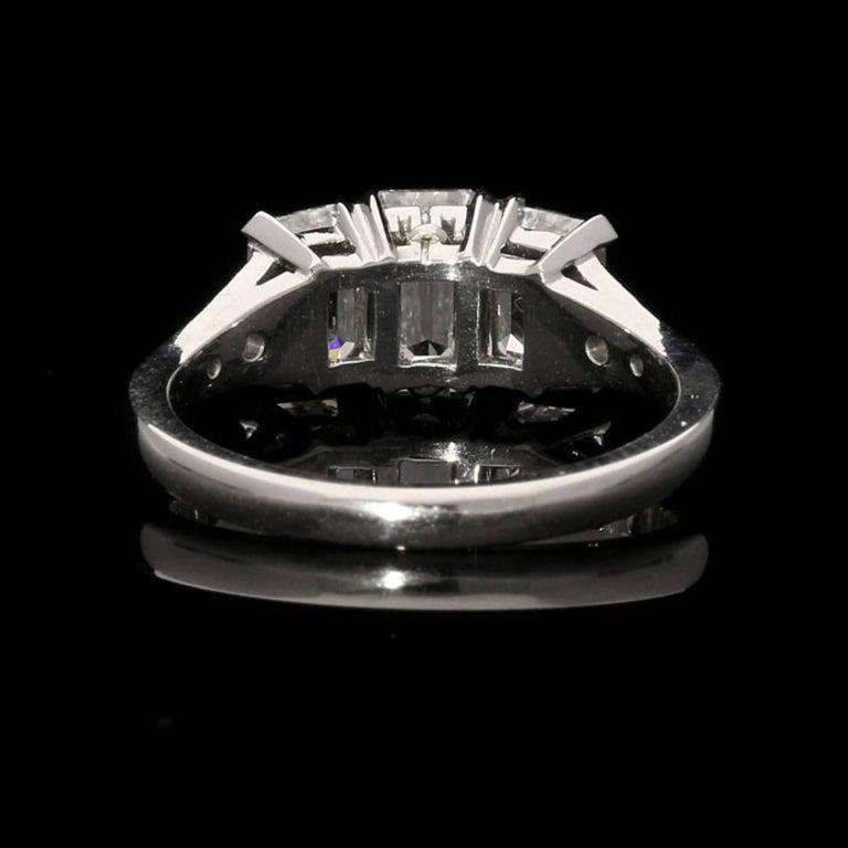 Hancocks Elegant Emerald-Cut Diamond Three-Stone Platinum Ring In New Condition In London, GB