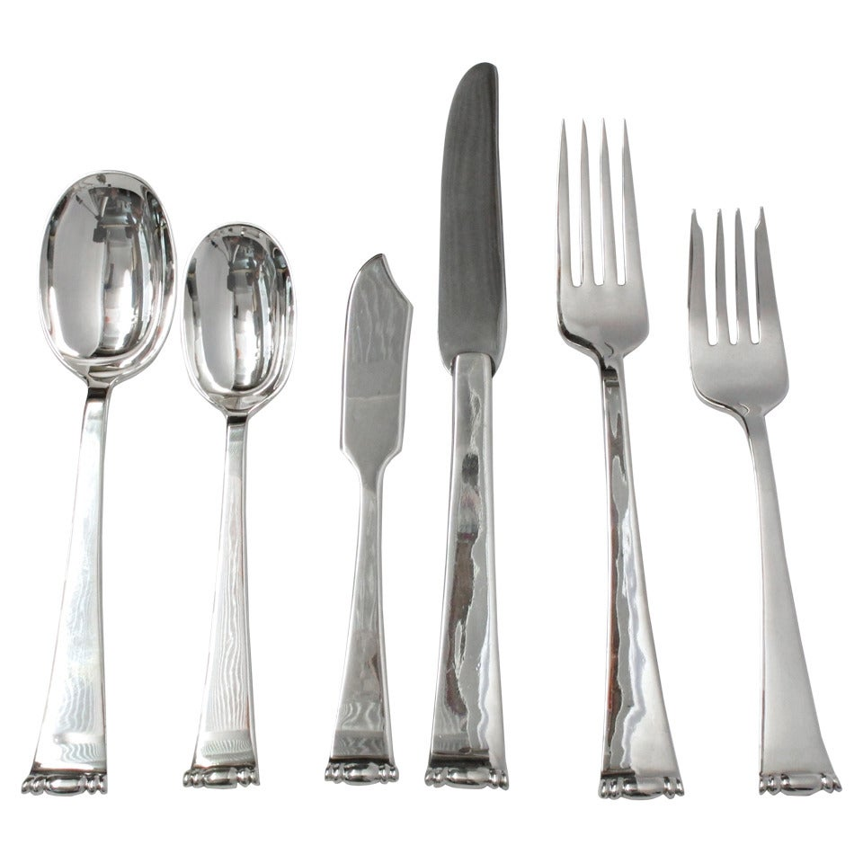 Allan Adler Modern Georgian Silver Flatware Set At 1stdibs