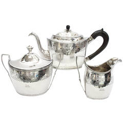 Peter Ann and William Bateman Three Piece Sterling Silver Tea Set