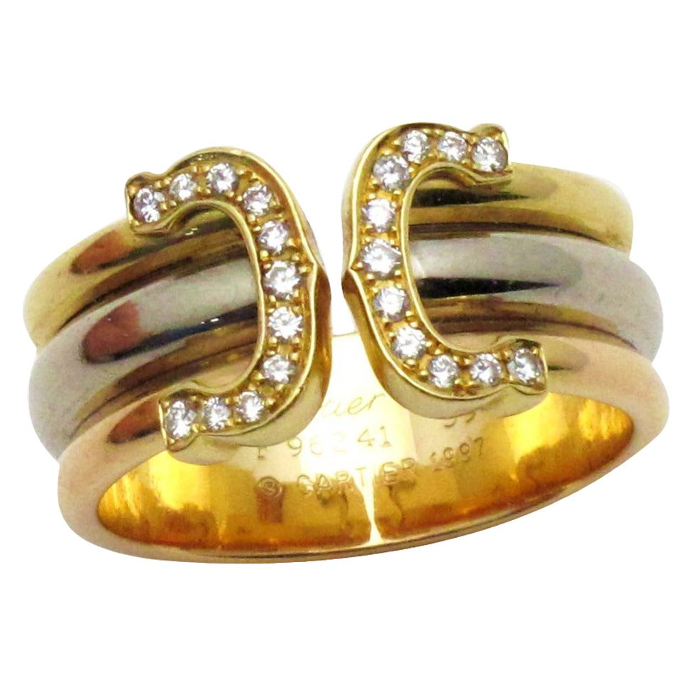 cartier c de cartier tricolor gold ring at 1stdibs