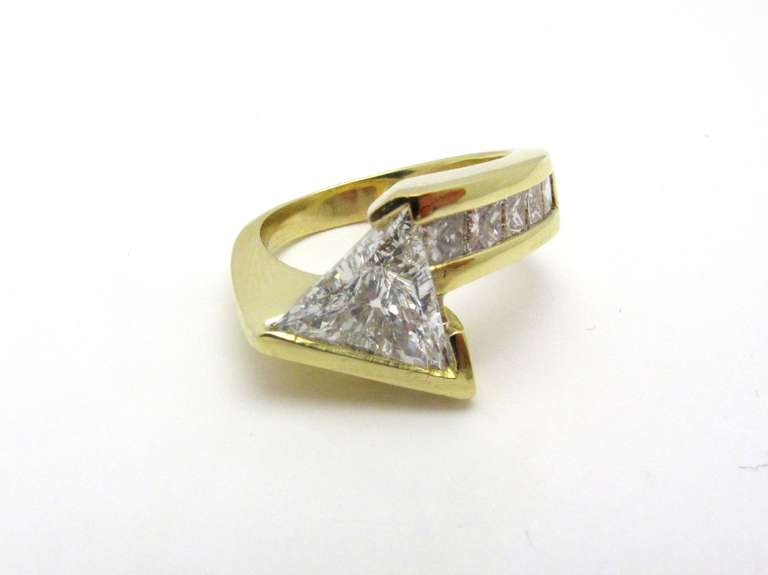 John Atencio Trillion Cut Diamond And Gold Ring With