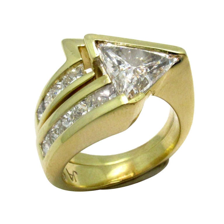 John Atencio Trillion-Cut Diamond and Gold Ring with Matching Band ...