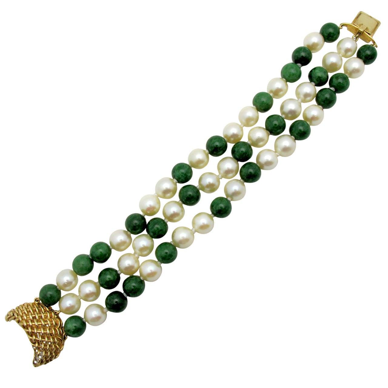 Seaman Schepps Pearl Jade Gold Bracelet